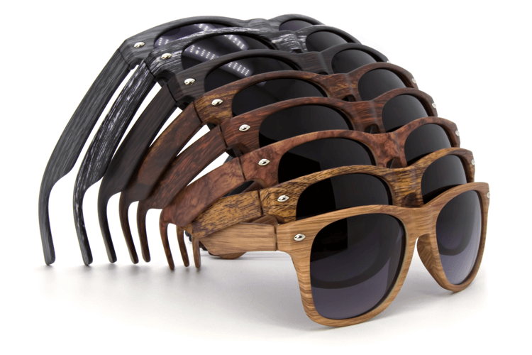 Zonnebril met hout-look