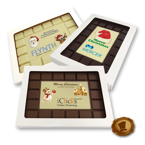 Chocolade Breektablet Kerst - rechthoek - bedrukt