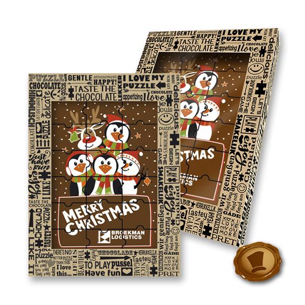 Chocolade Puzzel - Merry Christmas met uw logo