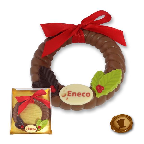 Grote Chocolade Kerstkrans met logo