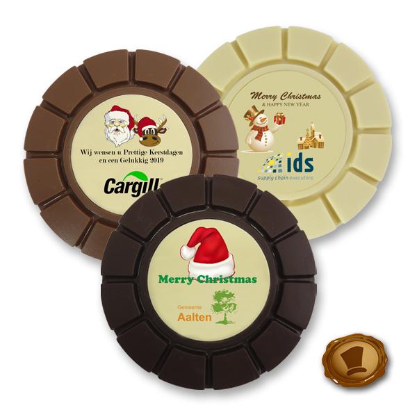 Chocolade Breektablet Kerst - rond - bedrukt