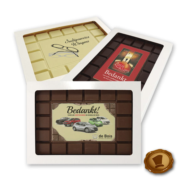 Bedrukte chocolade breektablet ''Rechthoek''