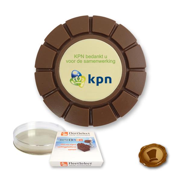 Bedrukte chocolade breektablet ''Rond''