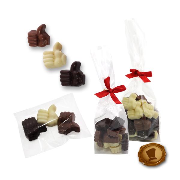 Chocolade Duimpjes met bedrukt kaartje of sticker