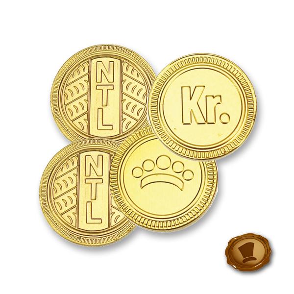 Chocolade munten 28mm met logo