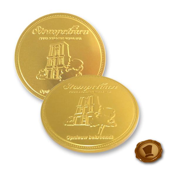 Chocolade munten 75mm met logo