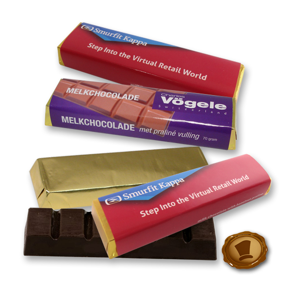 Chocoladereep 70 gram met bedrukking