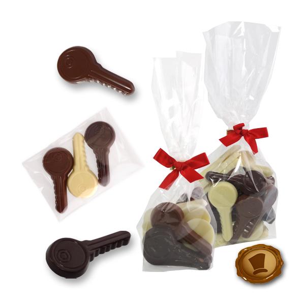 Chocolade Sleutels met bedrukt kaartje of sticker