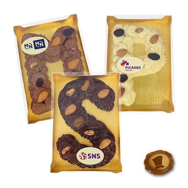 Luxe Chocolade Spuitletter met logo