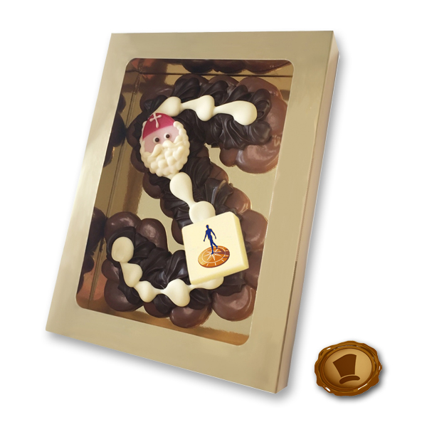 Extra grote Chocolade Spuitletter met logo