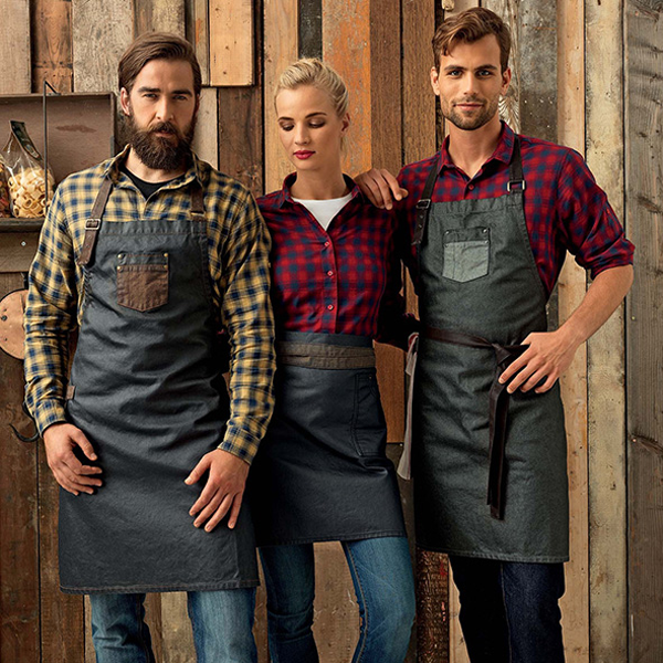 Waxed look denim bib apron with faux leather