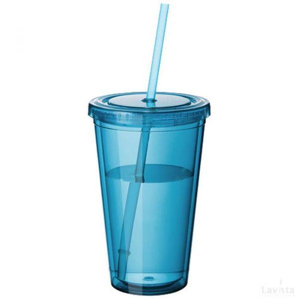 Bedrukte goedkope Cyclone geïsoleerde drinkbeker met rietje met logo