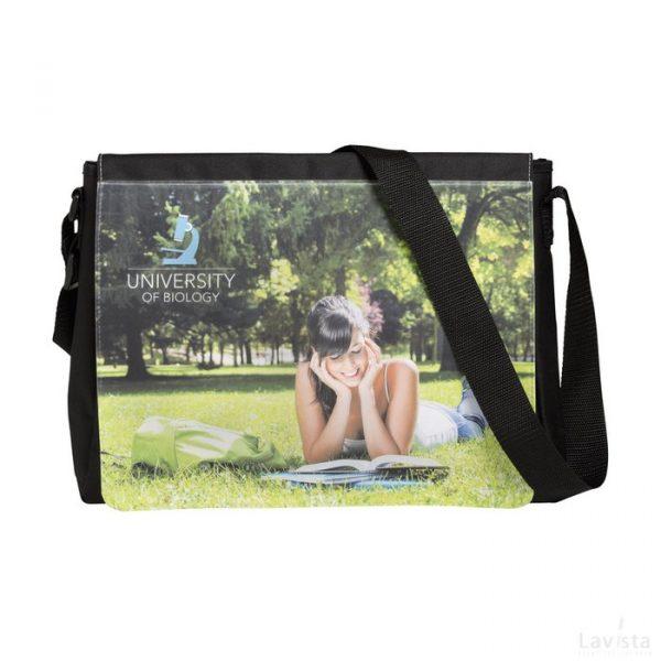 Bedrukte goedkope Photobag schoudertas full colour print met logo