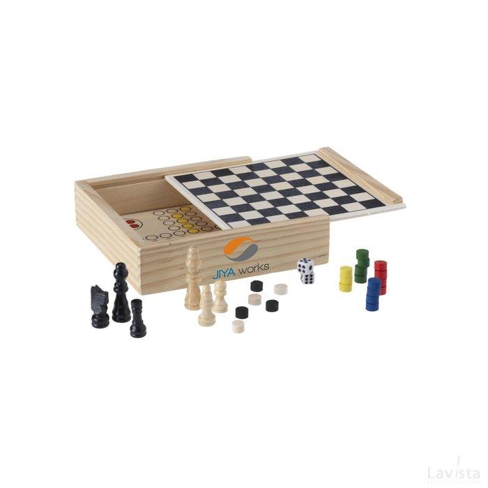 Bedrukte goedkope Woodgame 5-in-1 spel hout met logo