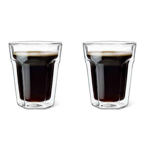 Dubbelwandig glas Koffie, set van 2