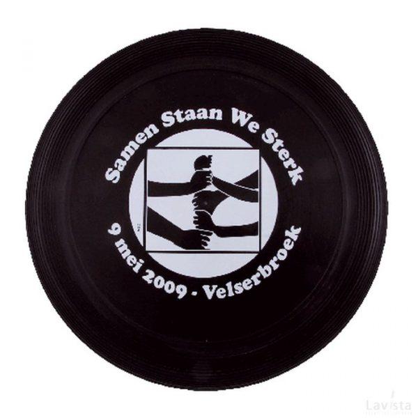 Goedkope bedrukte frisbee met logo (21 cm) met ringen, zwart