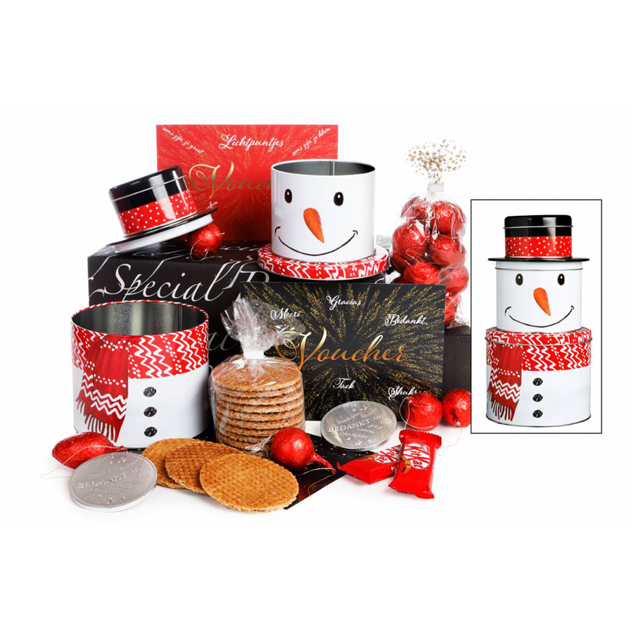 Kerstpakket sneeuwman met logo bedrukking