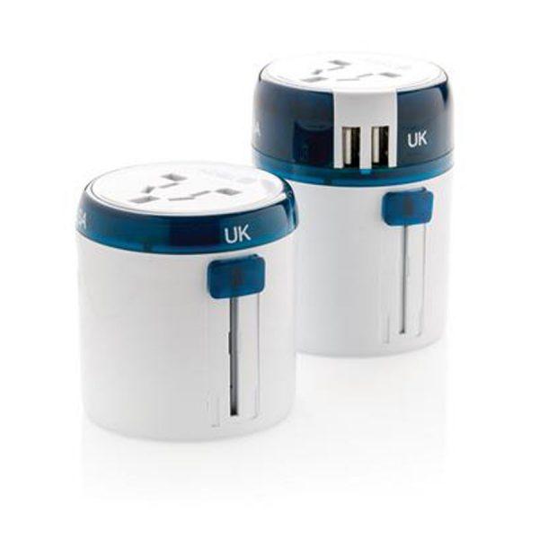 World Travel Adapter USB XIMA Wit Blauw