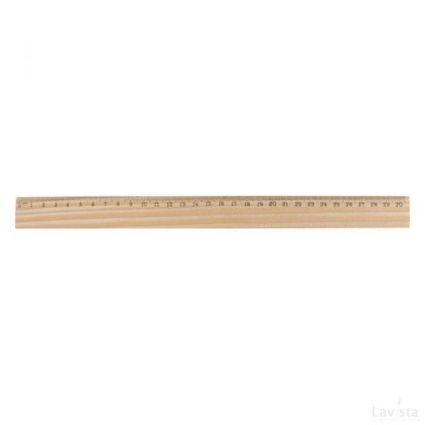 Bedrukte houten liniaal met logo