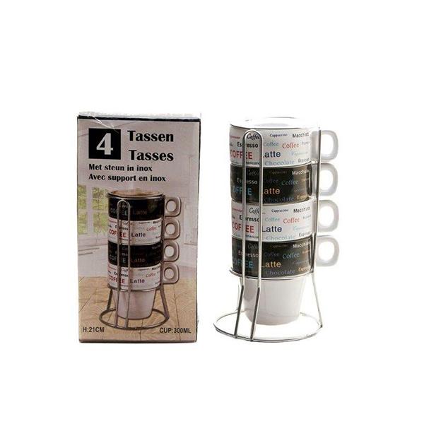 Tassen voor koffie 300 ml op metalen rek