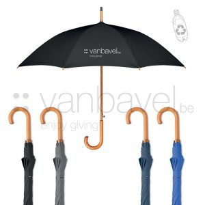 eco 23 inch auto open umbrella in 190T RPET pongee with wooden shaft, tips, top and handle