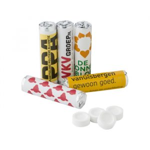 Snoeprolletjes pepermunt of fruitsmaak 9 tabletten bedrukken