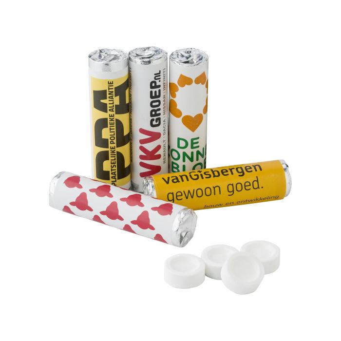 Snoeprolletjes pepermunt of fruitsmaak 9 tabletten bedrukken