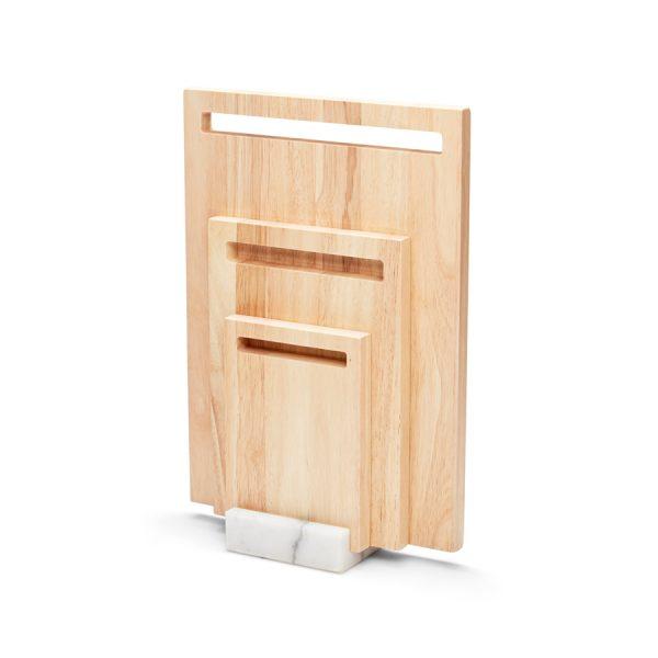 Snijplankenset hout in houder marmer 4dlg Mode