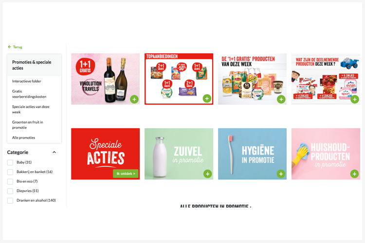 Gaan acties met product media ook online in de virtuele supermarkt