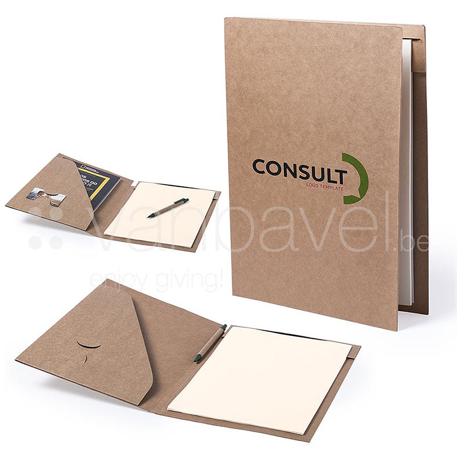 Conférencier en carton recyclé résistant rigide avec stylo à bille