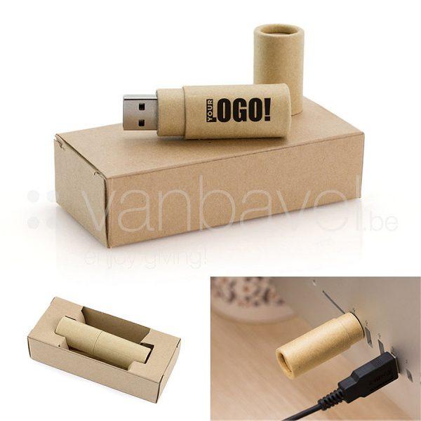 Clé USB de 16 GB au corps cylindrique en carton recyclé