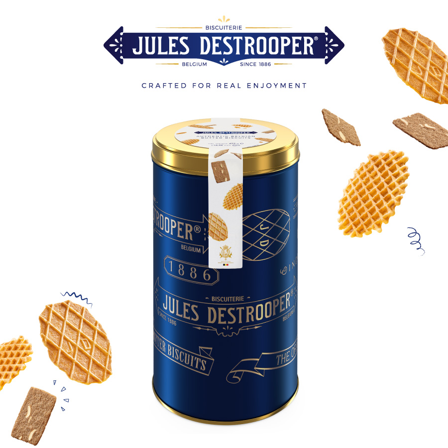 Jules Destrooper BlueGolden cookie tin 475 gram