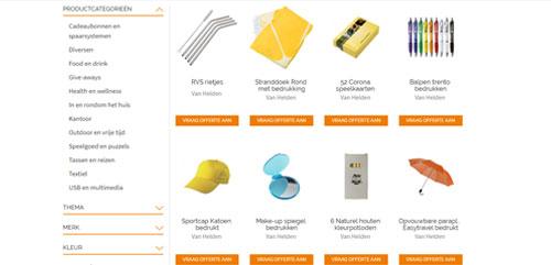 Producten in online productzfinder