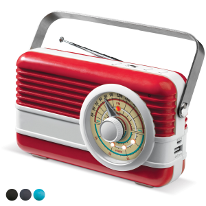 Powerbank Retro speaker rood