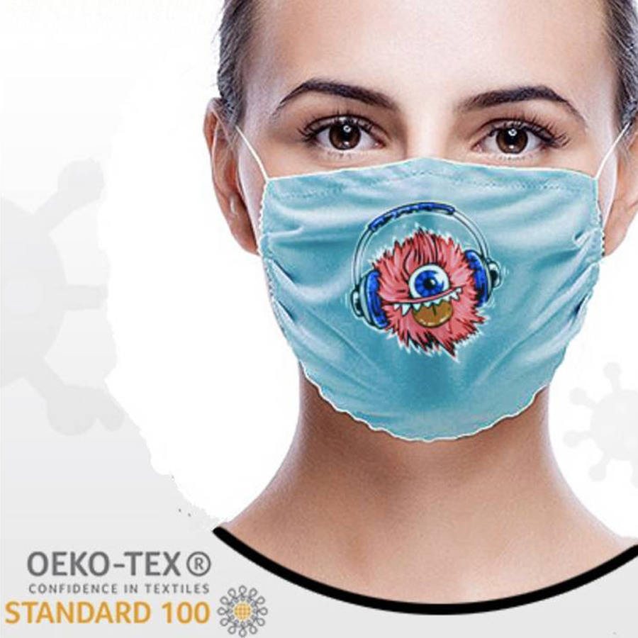 Wasbaar stoffen mondmasker met bedrukking