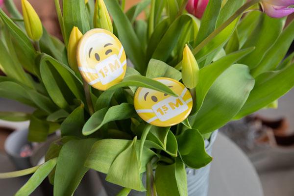 button met tulpen